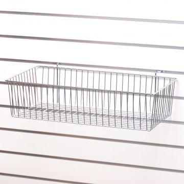 Trådkurv til panel - overflade i forzinket tråd<br />mål H14,5xB61xD30 cm
