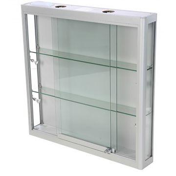 Vægmontre - vægvitrine - aluminium og hærdet glas<br />inkl. 4 spot og lys i toppen<br />mål H90xB90xD15 cm