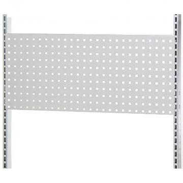 Værkstedsplade med firkantede huller i hvid lak - passer til L-søjle 237 cm og modul 90 cm<br />mål B90xH38 cm - 3 stk pr. side