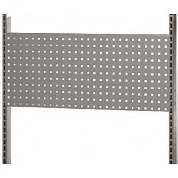 Værkstedsplade med firkantede huller - grå<br />mål H38xB90 cm - passer til L-søjle 237 cm