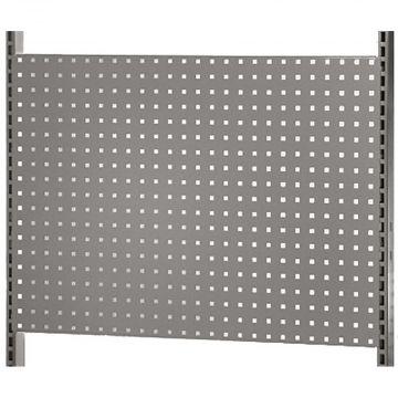 Værkstedsplade med firkantede huller - grå<br />mål H64xB90 cm - passer til L-søjler 202 og 237 cm
