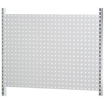 Værkstedsplade med firkantede huller i hvid lak - passer til L-søjle 202 cm og modul 90 cm<br />mål B90xH64 cm - 3 stk pr. side