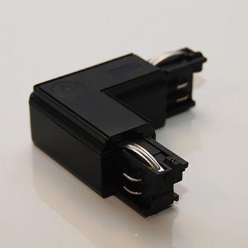 Vinkel indvendig - venstre pol i sort - 230 Volt 90 gr vinkelret til 2 skinner
